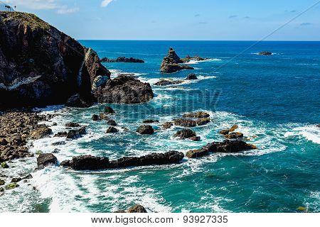 Stone Coast With Rocks Of Atlantic Ocean
