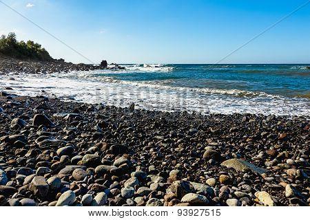 Wild Stone Beach On Coast Of Ocean