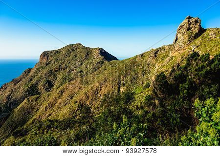 Green Mountains Or Rock And Blue Sky