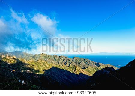 Clouds And Mountain With Blue Sky Horizon