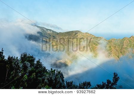 White And Pink Clouds Over Mountain