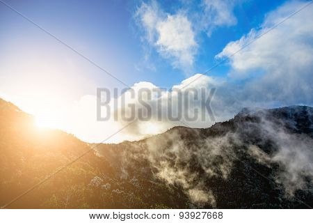 Mountains With Clouds And Sun With Sunlight