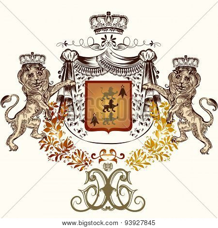 Heraldic Illustration In Vintage Style With Shield, Crown And Lion For Design
