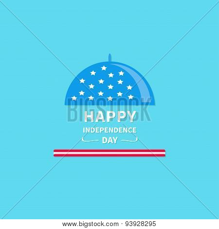 Platter Cloche Icon. Star And Strip Happy Independence Day United States Of America. 4Th Of July. Fl