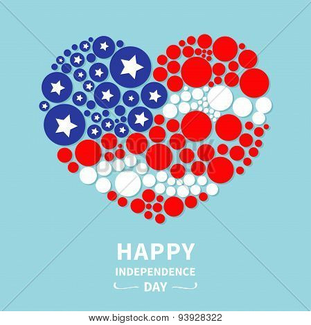 Round Dot Heart Flag Star And Strip Happy Independence Day United States Of America. 4Th Of July. Fl