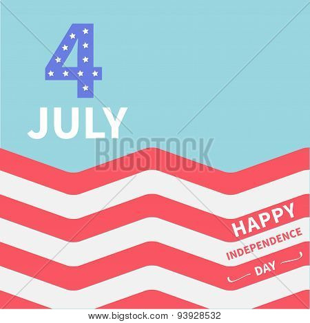 Red And White Strip Ocean 4Th Of July. Happy Independence Day United States Of America. Flat Design
