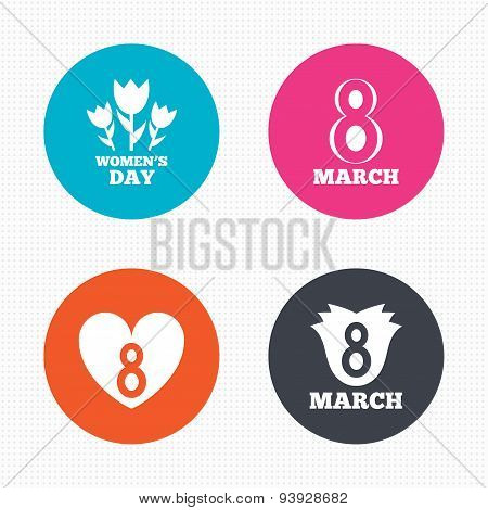 8 March Women's Day icons. Flower, heart symbols