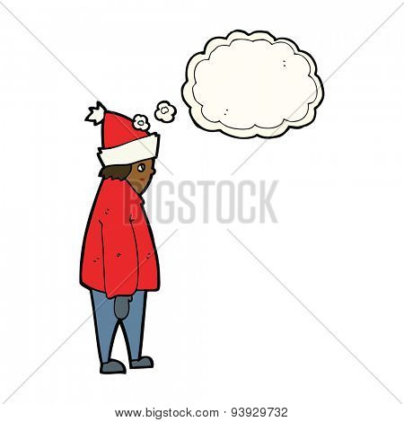 cartoon person in winter clothes with thought bubble