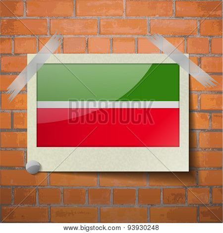 Flags Tatarstan Scotch Taped To A Red Brick Wall