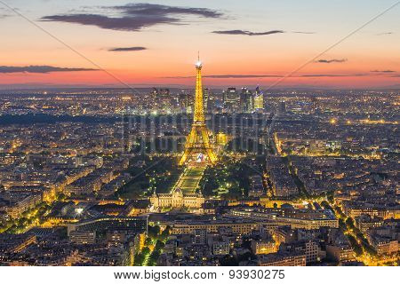 Paris Skyline At Night In France