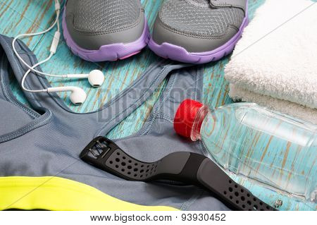 Workout Set With Sport Clothing And Heart Rate Monitor