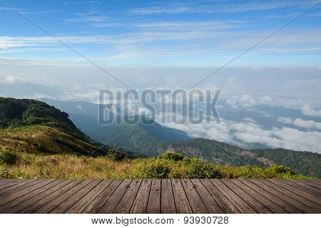 Scenic Mountain Landscape And Wood Floor