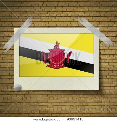 Flags Brunei At Frame On A Brick Background. Vector