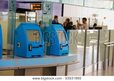 Transit Passengers Are Registered In The Airport Terminal