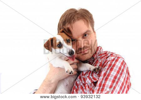 Man And Jack Russell Terrier