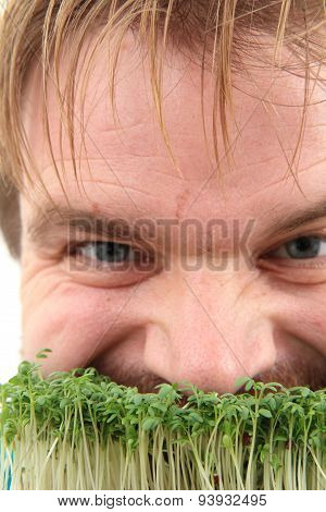 Watercress And Man Isolated