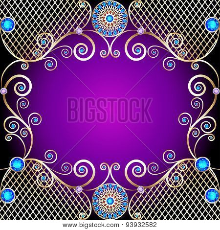 Background With Golden Ornaments With Precious Stones And Swirls