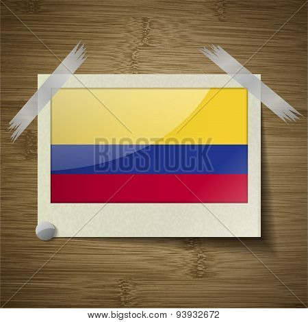 Flags Colombia At Frame On Wooden Texture. Vector