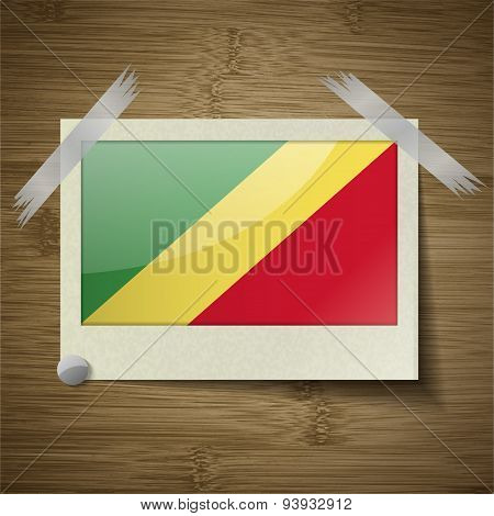 Flags Congo Republic At Frame On Wooden Texture. Vector