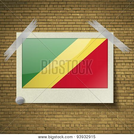 Flags Congo Republic At Frame On A Brick Background. Vector