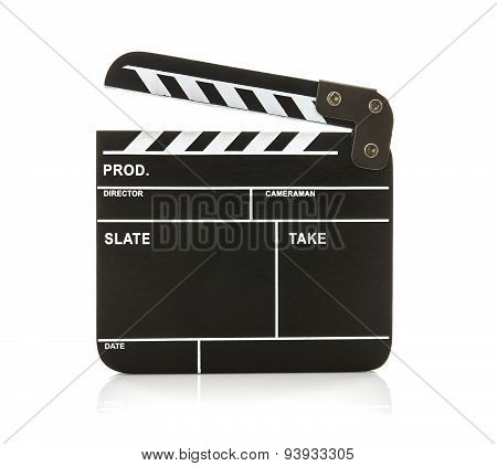 Open Black Clapperboard On A White Background
