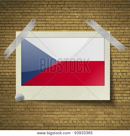 Flags Czech Republic At Frame On A Brick Background. Vector