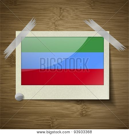 Flags Dagestan At Frame On Wooden Texture. Vector