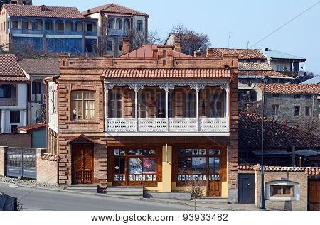 Telavi,GE-Feb,28 2015:Dwelling houses with lacy carved balconies in Telavi - the center of Kakheti