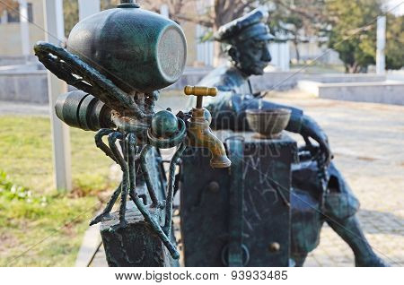 Telavi,Georgia - Feb, 28 2015: Original bench-sculpture in Telavi. Georgia