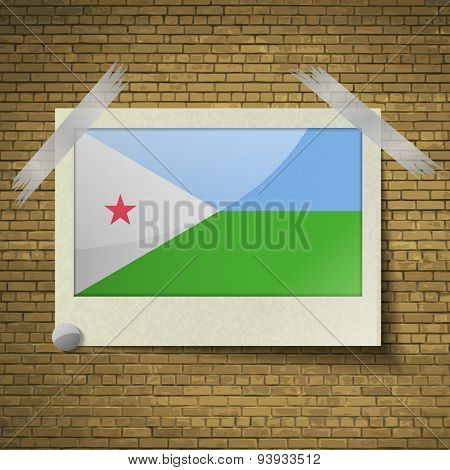 Flags Djibouti At Frame On A Brick Background. Vector