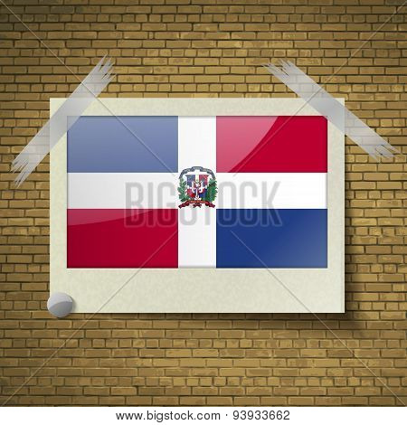 Flags Dominican Republic At Frame On A Brick Background. Vector
