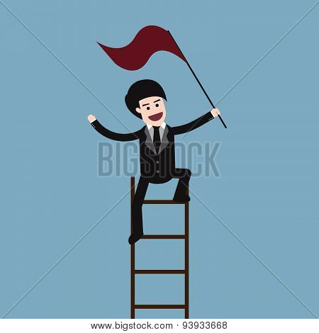 Success Businessman On Ladder