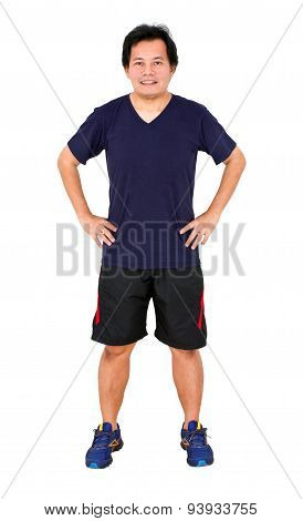Asian Man Wearing Sportwear With Hands On Hips.