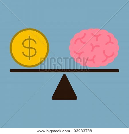 Money Dollar Coin And Brain On Weight Scale