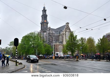 Amsterdam, Netherlands - May 6, 2015: People Visit Westerkerk (western Church)