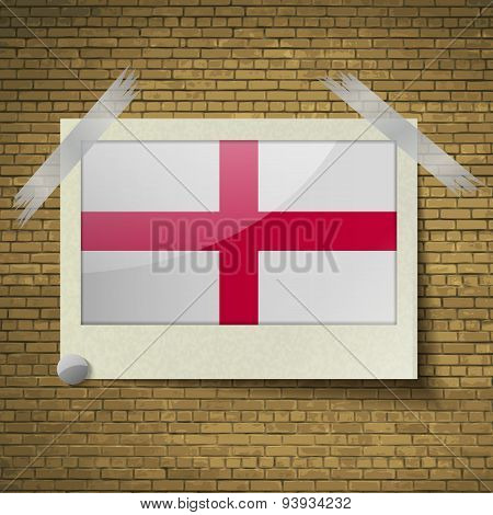 Flags England At Frame On A Brick Background. Vector