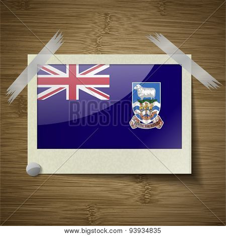 Flags Falkland Islands At Frame On Wooden Texture. Vector