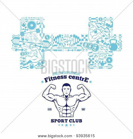 Fitness Gym Label Template, Fitness Icons Pattern