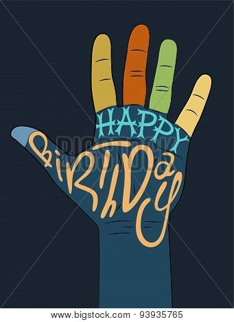 Happy Birthday! Typographical retro Birthday Card. Vector illustration.