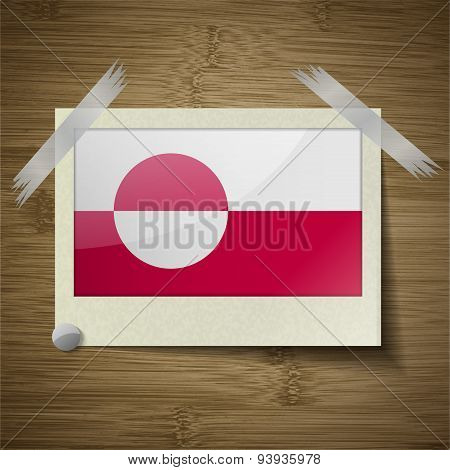 Flags Greenland At Frame On Wooden Texture. Vector