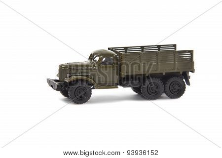 Miniature Model Of Soviet Military Truck On White Background