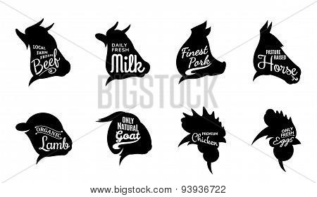 Typographic Farm Enimals Icons Meat Labels