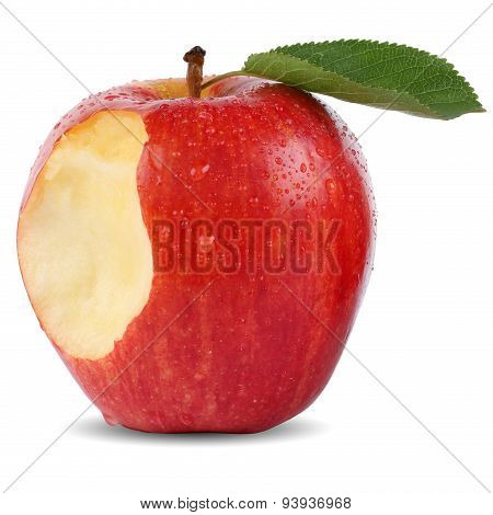 Bitten Red Apple Fruit Missing Bite Isolated