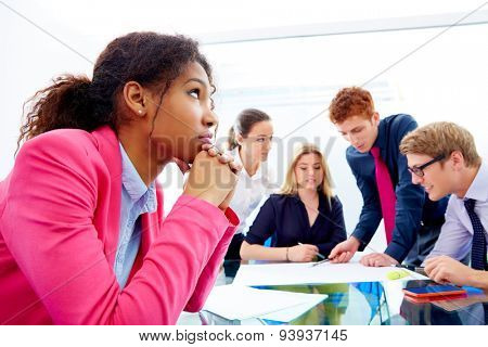 Boring meeting african businesswoman gesture in multi ethnic teamwork at office