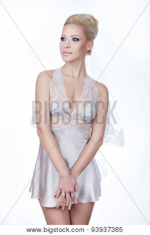 Girl Blonde On A White Background.