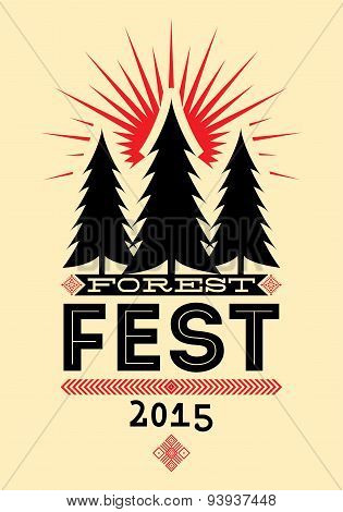 Forest Festival vintage poster. Retro typographic vector illustration.