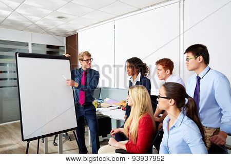 Blond executive businessman presentation to office team