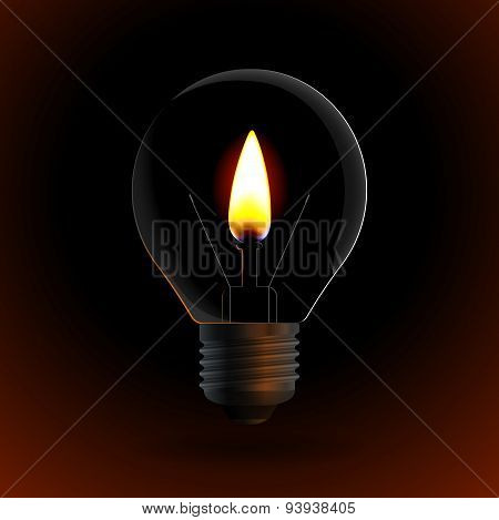 Lightbulb With Fire Candle On Dark Background