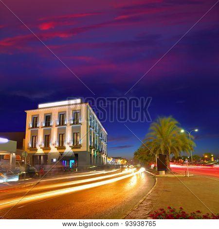 Denia village sunset dusk in Alicante Spain Europe
