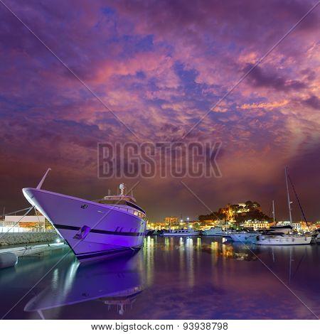 Denia port sunset dusk in marina at Alicante Spain